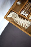 Cutlery. Silver cutlery in a drawer Stock Images