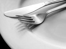 Cutlery. On a plate Stock Photography
