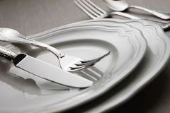 Cutlery 7. Two classic plates with cutlery Royalty Free Stock Photo