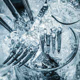 Cutlery And Glasses Being Washed Stock Image
