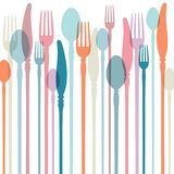Cutlery Background With Retro Colours stock illustration
