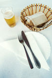 Cutlery and beer Royalty Free Stock Images