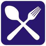 Cutlery, biała sylwetka łyżka i rozwidlenie przy błękit ramą, wektorowa ikona ilustracji