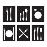 Cutlery black and white Royalty Free Stock Photos
