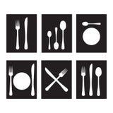 Cutlery black and white. Black and white cutlery icons royalty free illustration