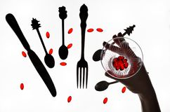 Cutlery and body parts Royalty Free Stock Images