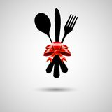 Cutlery with bow Royalty Free Stock Photos