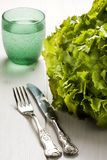 Cutlery Bush of Green Salad and Glass of Water Stock Photos