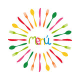 Cutlery circle menu illustration. Colorful menu dishware circle shape. This vector illustration is layered for easy manipulation and custom coloring Stock Photo