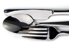 Cutlery closeup  over white Royalty Free Stock Photo
