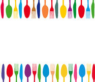 Cutlery colorful background stock photography