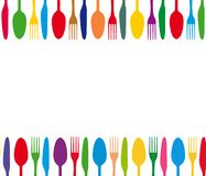 Cutlery colorful background Stock Images