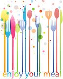 Cutlery colorful business card Stock Photo