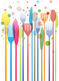 Cutlery colorful business card Stock Photography