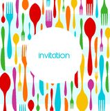 Cutlery Colorful Pattern Invitation Stock Photo