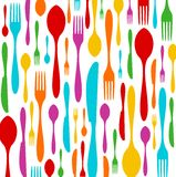 Cutlery colorful pattern on white stock images