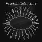 Cutlery and cooking utensils on chalkboard royalty free illustration