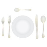 Cutlery and crockery on the table. Stock Image