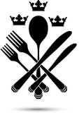 Cutlery with crowns Stock Photos