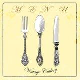 cutlery cucchiaio d'annata, forcella, coltello, tovagliolo, menu Fotografie Stock