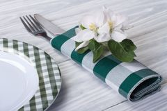 Cutlery decorated with flowers of apple Royalty Free Stock Image