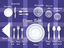 Cutlery on Dining Table Stock Images