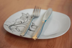 Cutlery after dinner Royalty Free Stock Photo