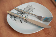 Cutlery after dinner Royalty Free Stock Photography