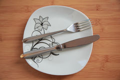 Cutlery after dinner Stock Photo