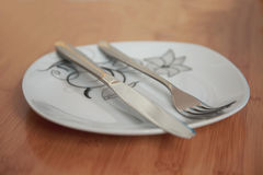 Cutlery after dinner Stock Image
