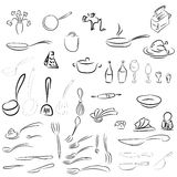 Cutlery, dinner service. Spoon, fork, knife, ladle, pots, pans. Sketch collection of table and kitchen sets for restaurant menus and other decorations. Vector Stock Photos