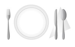 Cutlery and dish Stock Images