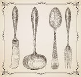 Cutlery, doodle style Royalty Free Stock Images