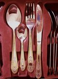 Cutlery Drawer. With knife fork and spoon Royalty Free Stock Photo