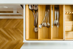 Cutlery in drawer Royalty Free Stock Image