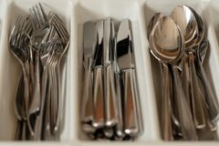 Cutlery in a drawer royalty free stock image