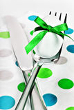 Cutlery and easter egg Stock Image