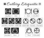 Cutlery etiquette. Table etiquette. Set of eating utensils etiquette icons. Food eating rules and manners. Table manners and fine. Dining etiquette. Vector Royalty Free Stock Image