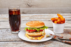 Cutlery and fast food meal. Stock Image