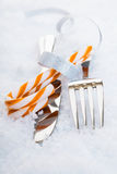 Cutlery with festive candy Royalty Free Stock Photo