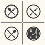 Cutlery flat icon set. Plate, fork, knife and spoon icons. Vector cutlery flat icon set Stock Photos