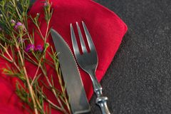 Cutlery and flora on red napkin. Close-up of cutlery and flora on red napkin Stock Image