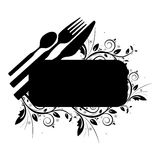 Cutlery and floral banner. On the white background Stock Photos