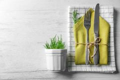 Cutlery with floral decor Stock Image