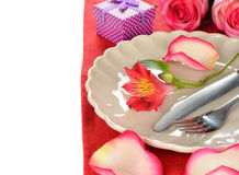 Cutlery and flowers Royalty Free Stock Photo