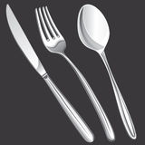 Cutlery fork, spoon, knife Stock Photos
