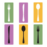 Cutlery full color. fork , knife, spoon on a colored background royalty free illustration