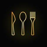 Cutlery golden linear icon stock illustration