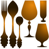 Cutlery golden set Royalty Free Stock Photography