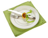 Cutlery on a green napkin. Isolated on white background Stock Images